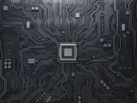 CPU chip on circuit board. Black motherboard with central processor chip. Computer hardware tecnology. 3d illustration