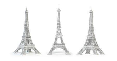 Tour Eiffel blanche isolée sur blanc