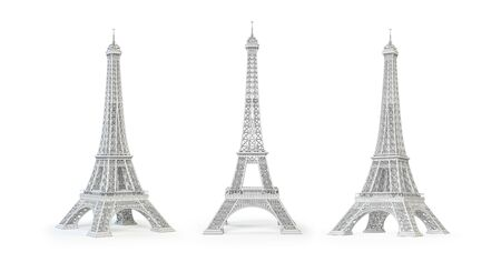 White Eiffel Tower isolated on white