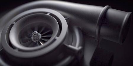 Car turbocharger on black background. Auto part turbo engine technology concept. 3d illustration