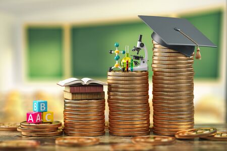 Education costs depending on level of school and university. Scholarship, education loan, investment in knowledge concept, Graduiation cap on coins. 3d illustration
