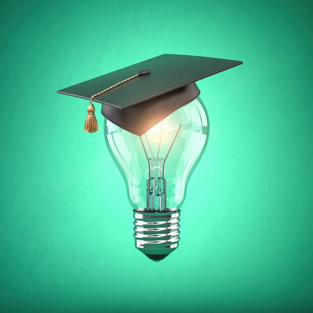 Eduction and gradfuation concept. Light bulb with graduation hat on green  background. 3d illustration 版權商用圖片