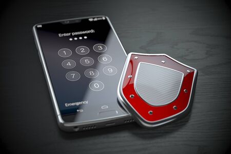 Smartphone data security and protection concept. Mobile phone with shield and password on the screen. 3d illustration
