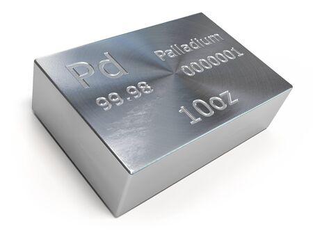 Palladium bar or ingot isolated on white.
