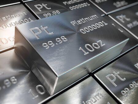 Platinum bars or ingots close up