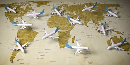 Airplanes on world  map. Airline flight routes and airport travel and tourism