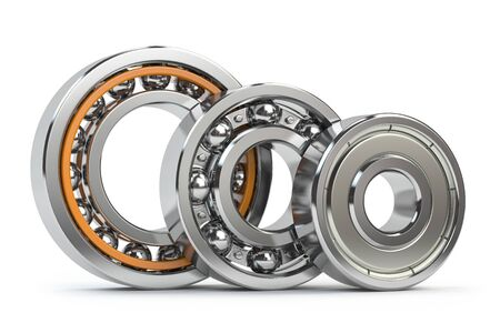 Bearings of different types isolated on white