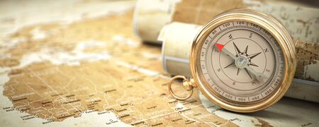 Compass on vintage old map. Travel geography navigation and adventure concept Foto de archivo