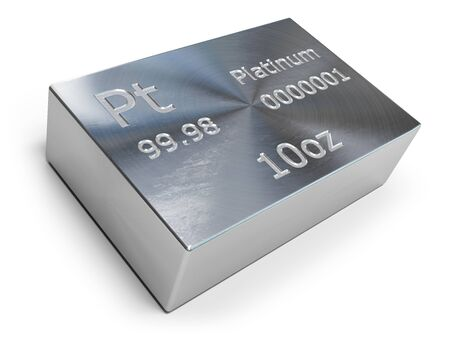Platinum bar or ingot isolated on white.
