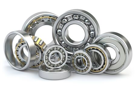 Bearings of different types isolated on white background. 3d illustration