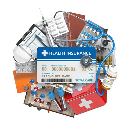Health insurance card with medical supplies and equipment, pills, drugs and first aid kit.