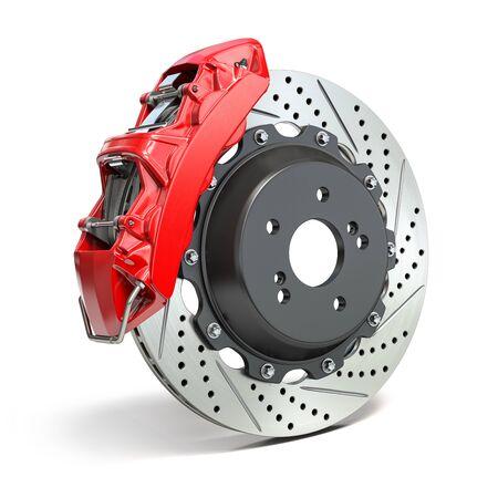 Braking system. Car brake disk with caliper isolated on white background. 3d illustration Standard-Bild