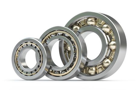 Bearings of different types isolated on white background. 3d illustration Stock Photo