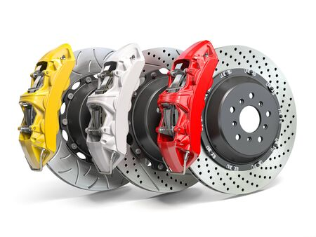 Braking system. Car brake disks with different perforations and calipers  isolated on white background. 3d illustration