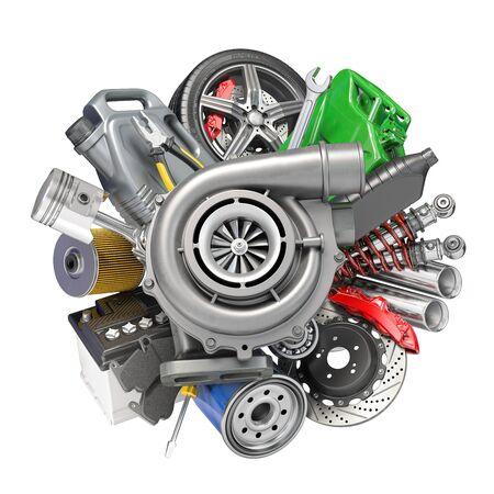 Auto service and car repair workshop concept. Car parts, spares and accesoires. 3d illustration Stock Photo