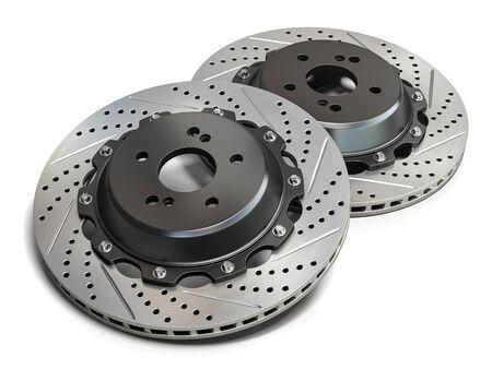 Brake disks isolated on white background. 3d illustration