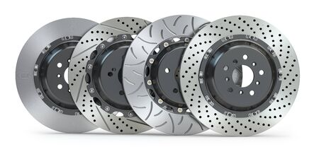 Different types of brake disks. Drilled and slotted brake disks in a row. 3d illustration