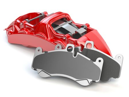 Car brakes. Red caliper and pads. Dsk braking system parts. 3d illustration
