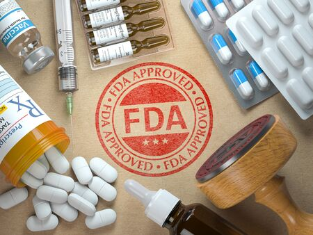 FDA approved concept. Rubber stamp with FDA and medicine. 3d illustration Stock Photo