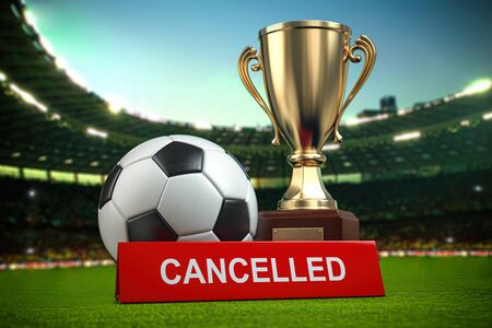 Football cup tourement or football match cancelled concept. 3d illustration Stock Photo