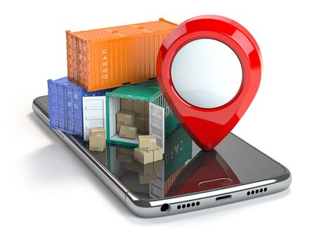 Smartphone with cargo containers and pin isolated on white. Delivery service app. 3d illustration