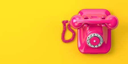 Vintage pink telephone on yellow background. 3d illustration