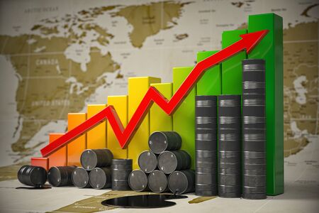 Oil barrels and growth graph on world map background. Oil price or production increase concept. Growth of oil and petroleum ndustry. 3d illustration