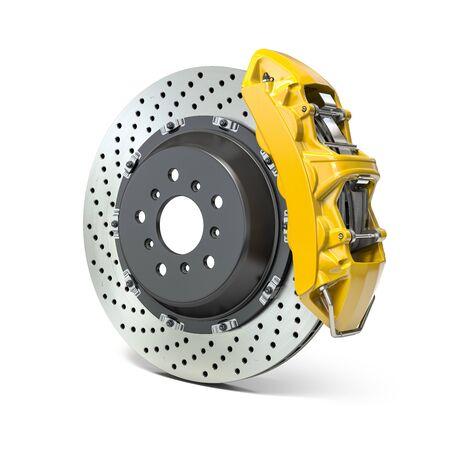 Car brake disk with caliper isolated on white background. Braking system. 3d illustration