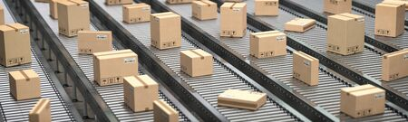 Cardboard boxes on the conveyor belt. Production, storage and delivery concept background. 3d illustration
