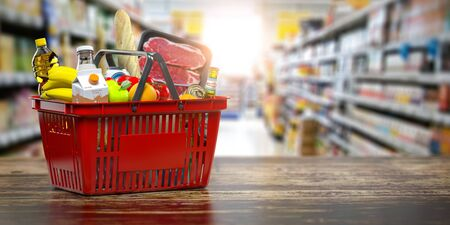 Shopping basket with fresh food. Grocery supermarket, food and eats online buying and delivery concept. 3d illustration Stock Photo