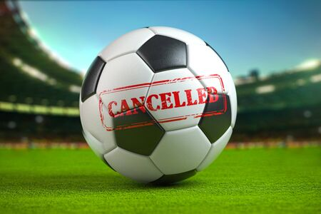 Cancelled football  tournement or football match concept. Football ball on football stadium. 3d illustration