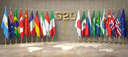 Row from flags of members of G20 Group of Twenty and list of countries in a conference room. Stock Photo