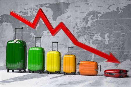 Crisis in travel and tourism industry. Graph and diagram from suitcases on the map of world.