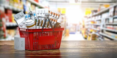 Purchasing medicines in  pharmacy drugstore. Shopping basket full of medicines, pills and blisters.