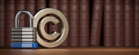 Copyright symbol with padlock on law books Stock Photo