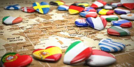 Map of Europe  and hearts with flags of european countries.