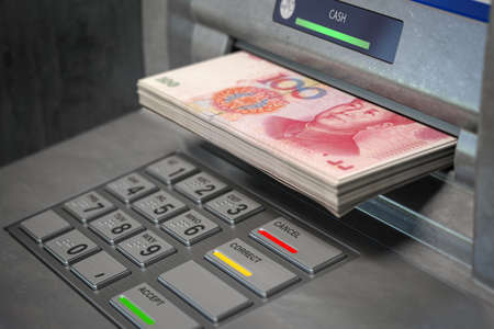 ATM machine and yuan. Withdrawing  100 yuan banknotes. Banking concept. 3d illustration Editorial