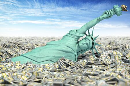 Statue of Liberty falls to pile of dollar packs Stock Photo