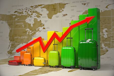 Growth travel and tourism industry. Stock Photo