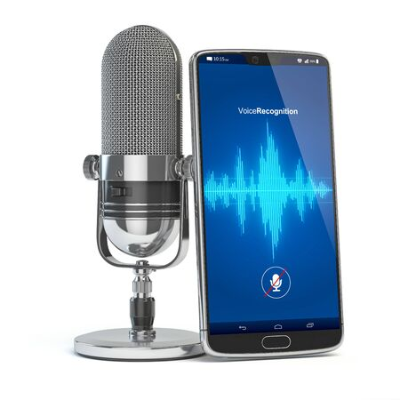 Microphone and smartphone or mobile phone with waves on the screen. Stock Photo