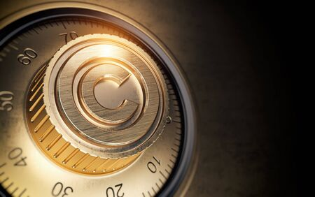Copyright symbol on vault code lock. Intellectual property protection concept.