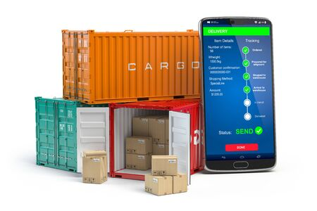 Smartphone with cargo containers  isolated on white. Delivery service app. 3d illustration Stock Photo