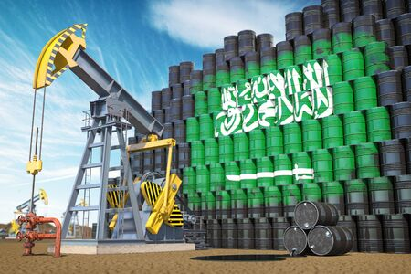 Oil production and extraction in Saudi Arabia.