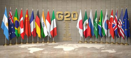 G20 summit or meeting concept. Row from flags of members of G20 Group of Twenty and list of countries in a conference room.