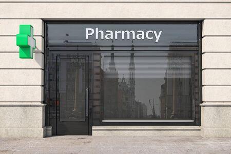 Pharmacy store or drugstore exterior design. 3d illustration