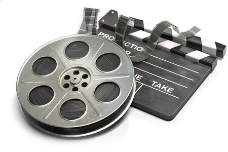 Film reel with clapper board. Video, movie and cinema production concept. 3d illustration