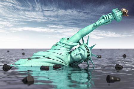 Oil industry crissi in USA. Statue of Liberty in oil with barrels. 3d illustration