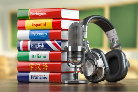 Learning languages online.  Dictionary books of different languages with headphones and microphone. 3d illustration Stock Photo