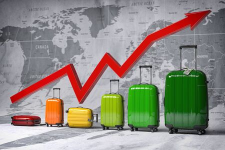 Growth travel and tourism industry. Graph and diagram from suitcases on the map of world. 3d illustration Stock Photo