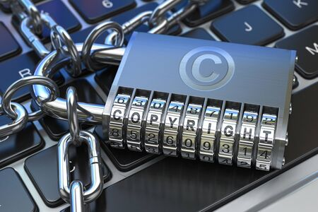 Copyright text on code padlock on computer keyboard. Intellectual property protection concept. 3d illustration